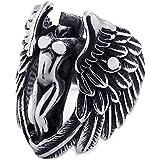 Konov Jewellery Vintage Stainless Steel Angel Wing Biker Mens Ring, Colour Silver Black (with Gift Bag)