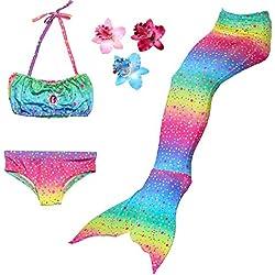 3 Pièces Maillot de Bain Princesse Queue de Sirène Mermaid Bikini(Il y a la Boucle au Bas de la Queue,Pouvez Ouvrir pour Marcher ou Fermer pour Ajouter Monopalme) (150(10-12 Ans), Arc en Ciel)