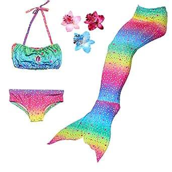 DAXIANG 3 Pièces Maillot de Bain Princesse Queue de Sirène Mermaid Bikini(Il y a la Boucle au Bas de la Queue,Pouvez Ouvrir Marcher Fermer Ajouter Monopalme) (100(1-2 Ans), Arc en Ciel)