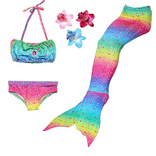 3 Pièces Maillot de Bain Princesse Queue de Sirène Mermaid Bikini(Il y a la Boucle au Bas de la Queue,Pouvez Ouvrir pour Marcher ou Fermer pour Ajouter Monopalme) (130(6-7Ans), Arc en Ciel)