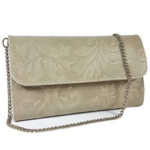 Freyday Echtleder Damen Clutch Tasche Abendtasche Muster Metallic 25x15cm (Helltaupe Blumen)