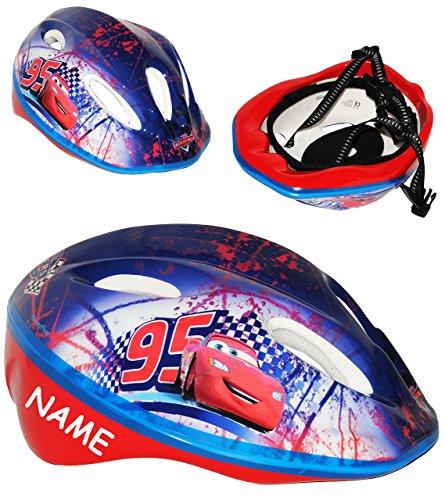 Kinderhelm - ' Disney Cars / Lightning McQueen - Auto ' - Gr. 52 - 56 - circa 3 bis 15 Jahre - incl. Namen - verstellbarer Helm - Fahrradhelm größenverstellbar Schutz -...