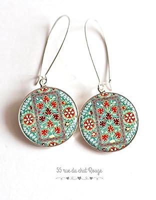 Boucles d'oreilles cabochon dessin abstrait, inde, Indonésie, turquoise et rouge