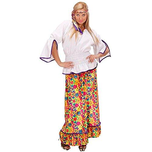 Hippie Carnevale Kostüm - Kostüm 60er Costume Flower Power Party Hippie Hippy Peace Schlager Freedom Bunt, Größe:L