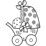 CREATIV DISCOUNT® NEU H.- Stempel Kinderwagen, 6x7cm, Art. 27710