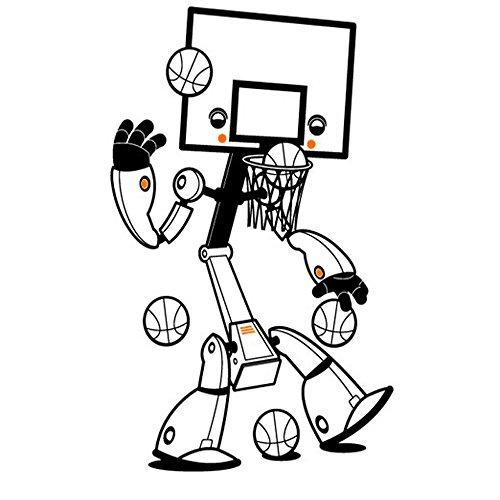 Winhappyhome Basketball Roboter Reihen Wand Kunst Aufkleber für Kinderschlafzimmer Kinderzimmer Hintergrund Entfernbare Dekor Abziehbilder Baum-entfernbare Wand-kunst