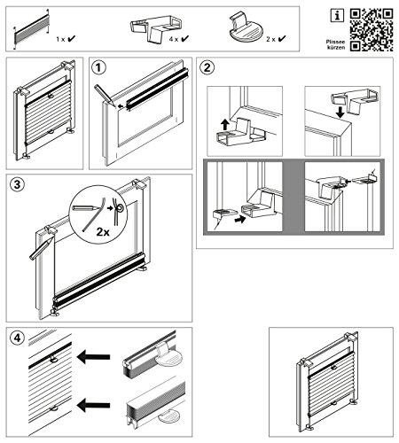 GARDINIA Doppelrollo zum Klemmen oder Kleben, Duo-Rollo/ Seitenzugrollo, Transparente und blickdichte Streifen, Alle Montage-Teile inklusive, Weiß, 90 x 220 cm (BxH) - 10