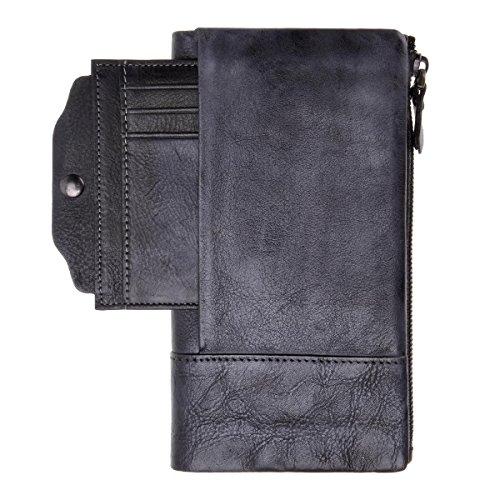 ZLYC stile retrò a mano inclusa in pelle lungo portafoglio con porta carte rimovibile, Gray (grigio) - JC-FLT-5053D-GR-1 Gray