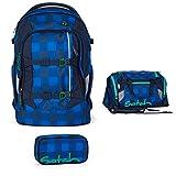 satch by Ergobag Rucksack 3tlg. Set Bluetwist Blau Dunkelblau Karo Rucksack, Sporttasche & Schlamperbox