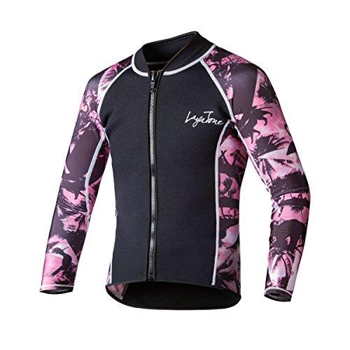 LayaTone Wetsuit Jacket Premium 2mm Neoprenanzüge Top Long Sleeves Tauchanzug Surf Suit Neoprenanzüge für Frauen Mädchen Schwarz zum Tauchen Surfen Schnorcheln Tauchen Schwimmen