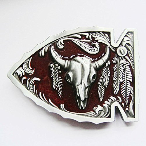 Rot linienende Bull Native American Gürtelschnalle von Lifestyle (Gürtelschnallen Native American)