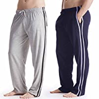 Socks Uwear 2 Pack Mens/Gentlemens Nightwear Plain Pyjama Bottom Lounge Pants - 1 X Navy, 1 X Grey - L