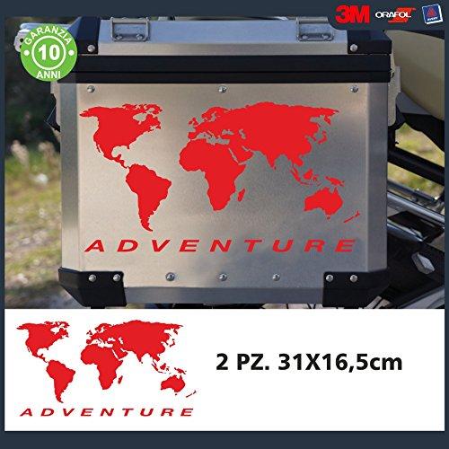 2 Adesivi Stickers Planisfero || COLORE: ROSSO || ADATTI PER VALIGIE MOTO - R 1200 1150 1100 gs valigie adventure R GS adv