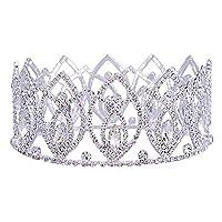 HerZii Pageant Full Circle Tiara Clear Austrian Rhinestones King / Queen Crown Costume Party Tiara 2.8'' (Silver)