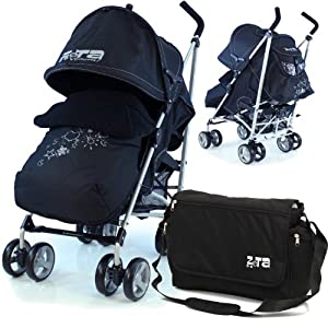 Baby Stroller Zeta Vooom Complete - Black With (H&S) Footmuff, Headhugger, Changing Bag And Raincover   5
