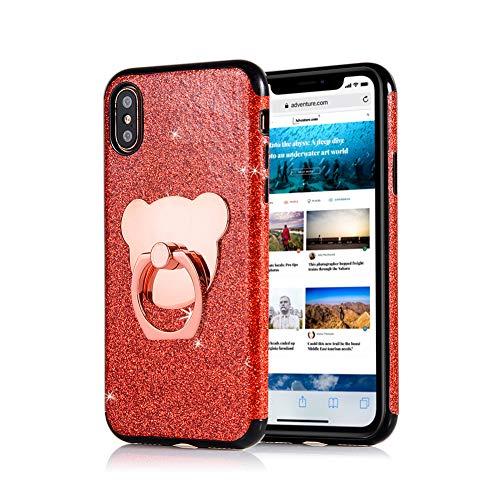 Rot Strass Hülle für iPhone XR,Glitzer Silikon Hülle für iPhone XR,Moiky Luxus Mode Mädchen Frauen Niedlich 3D Bär 360 Grad Ständer Ring Halter Weich TPU Soft Gummi Hülle