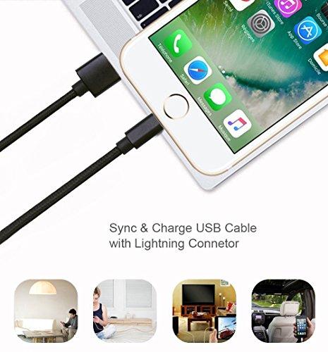 Ankoda® 3Pack 3ft/6ft/10ft iPhone Ladegerät Kabel, Nylon geflochtenes Lightning Kabel für iPhone 7 7Plus 6S 6S Plus 6 6Plus 5S 5C 5, iPad Pro Air, iPad Mini 2 3 4, iPod Nano und mehr (schwarz) - 6