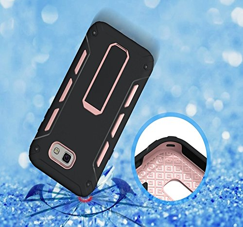 YHUISEN Galaxy J3 2017 Case, Cool Shockproof Rüstung Hybrid 2 In1 TPU und PC Rugged Dual Layer mit Kickstand Fall für Samsung Galaxy J3 2017 / Galaxy J3 Emerge ( Color : White ) Rose Gold