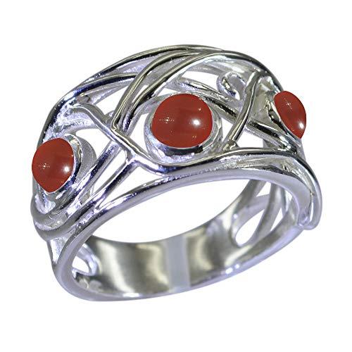 Jewelryonclick Unisex Herren Damen - Rund natürlicher, roter Onyx