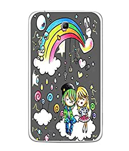 Fuson Designer Back Case Cover for Samsung Galaxy Tab 3 (8.0 Inches) T310 T311 T315 LTE (Love Heart Rainbow Couple Kiss)