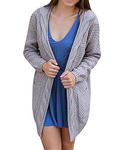 CNFIO Pullover Damen Strickjacke Lässig Casual Cardigan Langarm Outwear mit Taschen Mantel Jacke Winter Grau S