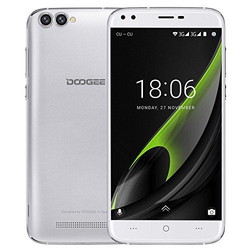 Smartphone ohne vertrag, DOOGEE X30 Dual Sim Android 7.0 Handy, 5.5 Zoll IPS HD Display, 2GB RAM + 16GB ROM, Mali 400 525MHz - Dual 5.0MP Front Kameras + Dual 8.0MP Hintere Kameras - 3360mAh - Weiß