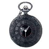 yahe moderno Steampunk Classic números romanos negro Vintage cuarzo reloj de bolsillo con cadena