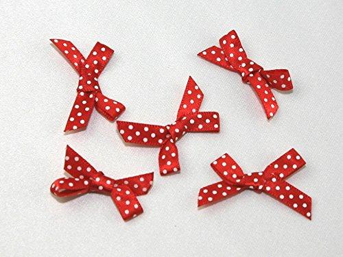 Polka Dot Satin-Schleifen rot/weiß–Pro 100Stück + Gratis Minerva Crafts Craft Guide (Schleife Satin Polka Dot)