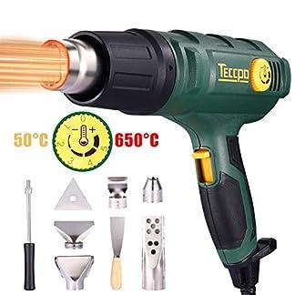 Pistola de aire caliente TECCPO 2000W, 50-650 ℃ alta potencia, 8 accesorios de boquilla, calentamiento rápido en segundos (tiempo de trabajo superior a 500 horas) – TAHG08P