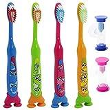 COM-FOUR® 4er Set Kinderzahnbürsten, 4 verschiedene Tiermotive und 2 farbenfrohen Sanduhren