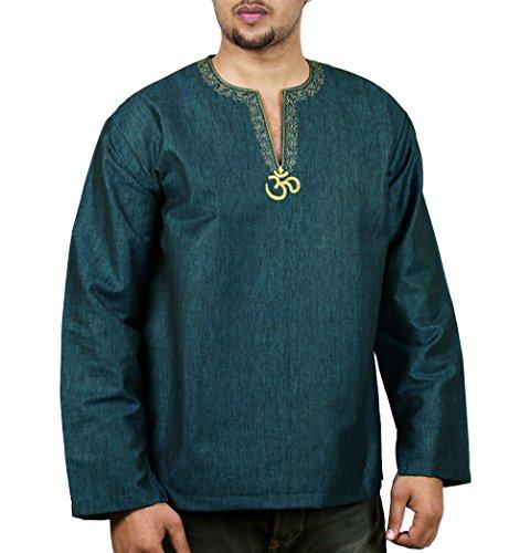 Indisches Kostüm Komfortable Männer Shirt Bestickt Kurta Om Entspannen Passen Luftig 44 (Kostüm Mann Elf)