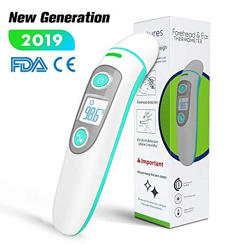 [Neue Generation] Stirnthermometer Ohrthermometer, digitale medizinisches 5-in-1, Infrarot-Fieberthermometer mit einem Algorithmus für beste Genauigkeit, geeignet für Babys, Kleinkinder und Erwachsene -