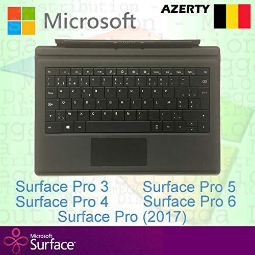Microsoft Surface Pro Type Cover belgische/belgische Azerty Tastatur mit Hintergrundbeleuchtung, Schwarz - kompatibel mit Surface Pro 3/Pro 4/Pro (2017) / Pro 5 und Pro 6 -
