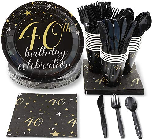 schirr Set - 24-40Th Birthday Party Supplies Serves - Inklusive Kunststoff-Messer, Löffel, Gabeln, Pappteller, Servietten, Becher Mehrfarbig ()