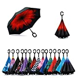 #6: ShoppoZone Double Layer Inverted Reversible No Drip Umbrella with C shape Handle - Multi Color