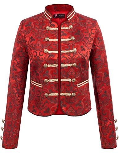 Ball Kostüm Edwardian - KANCY KOLE Frauen 40er Steampunk Korsett Walzer Maskerade Victorian Dressing Kostüm Gothic Top Weinrot L