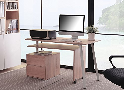 Sixbros. scrivania porta pc quercia bianca aspetto legno ct 3556 2141