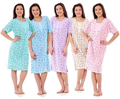 Bay eCom UK Women Ladies New Nightshirt Rich Cotton Floral Print Short Sleeve Nightwear