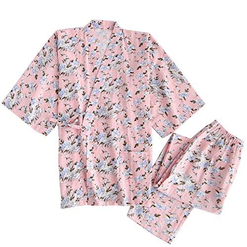 Milya Kimono-Set Damen japanischen traditionellen formalen tragen Kimono Pyjama Schlafanzug Nachthemd Nachtwäsche Pyjama Set Morgenmante Bademäntel aus 100% (Dienstmädchen Kostüm Japanische)