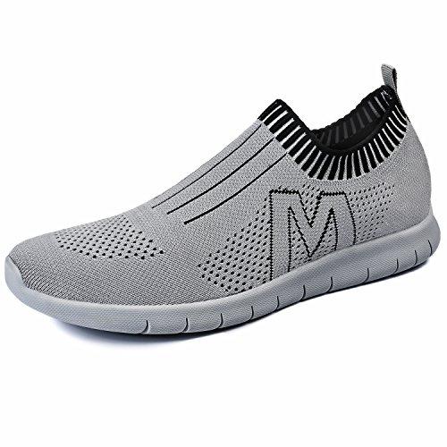 QANSI-Hombre Zapatos Deportivos de Malla Transpirable(Gris,40)