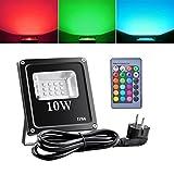 Sunix 10W Luces de inundación del LED RGB, IP66 impermeable del reflector LED, 16 colores y 4 modos con control remoto, arandela de la pared del LED, luces de seguridad al aire libre