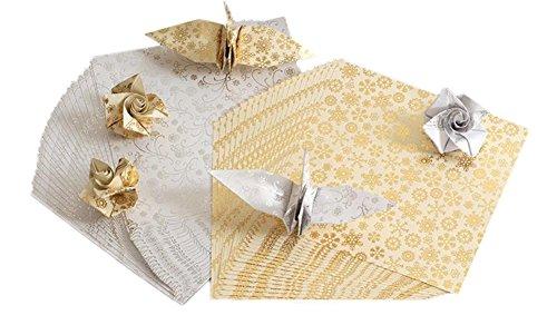 40x Milopon Origami Papier Craft Paper Glitzer Papier Bastelpapier Origamipapier Zweiseitig Faltpapier für Kinder 15x15cm 2 Farben mischen