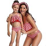 Leey Familie Bikini Set Sexy Neckholder Badeanzug Punkt Bademode Geteilter Swimsuits Zweiteiler Strand Rüschen Beachwear Schwimmanzug Familie Kleidung Bikinioberteil Bikinihose für Damen Kind