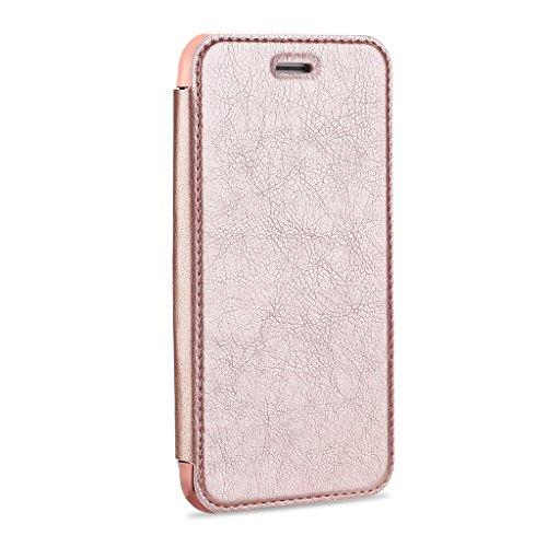 Etui En Cuir Pour iPhone 7, iMusi Housse Coque de Protection TPU Flip Case Protection Antichoc Avec Fente Pour Carte - Rose d'or D'or