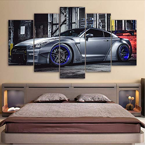 Fyyanm Kunst Modulare Leinwand Poster Stil Wandrahmen Bilder 5 Panel Nissan GTR R35 Für Wohnzimmer Cuadros Dekoration Moderne Malerei - Nissan Decke