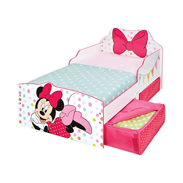 Hello Home Minnie Mouse Toddler Bed with Underbed Storage, Wood, White, 142 x 77 x 63 cm  Perfect for transitioning your little one from cot to first big bed The perfect size for toddlers, low to the ground with protective side guards to keep your little one safe and snug Two handy underbed, fabric storage drawers 4