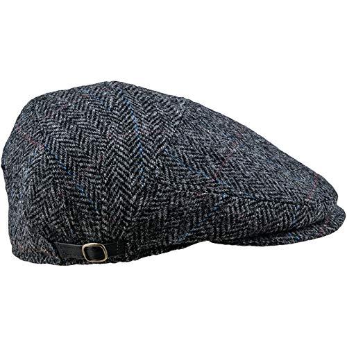 Sterkowski Harris Tweed Schiebermütze Ivy League Schlägermütze Flat Cap 55 cm Grau/Blau Tweed Ivy Hat