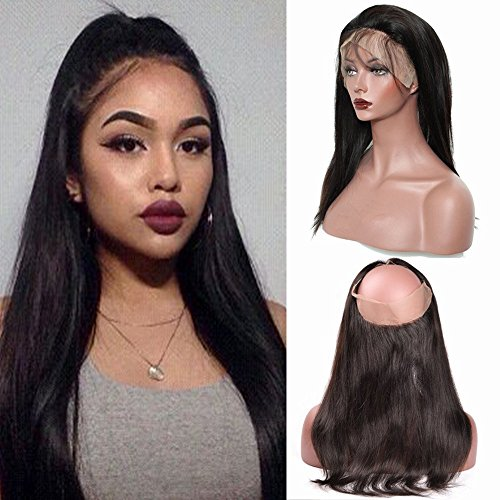Lace Frontal Closure 360 Tissage Bresilien Lisse Top Lace Closure - Tissage Meches Bresiliennes Extension en Cheveux Naturel (#1B Noir Naturel, 16\\