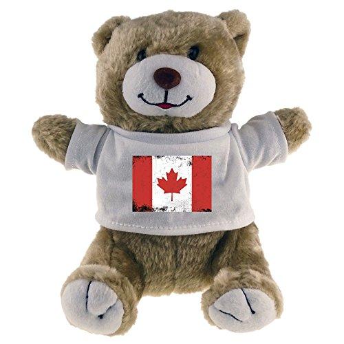 Multifanshop Kuscheltier Bär Fahne Retro Kanada beige - Stofftier Püschtier Schmusetier -