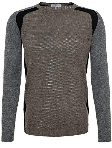 Roberto Collina Pullover da uomo in lana merino militare grigio verde 54